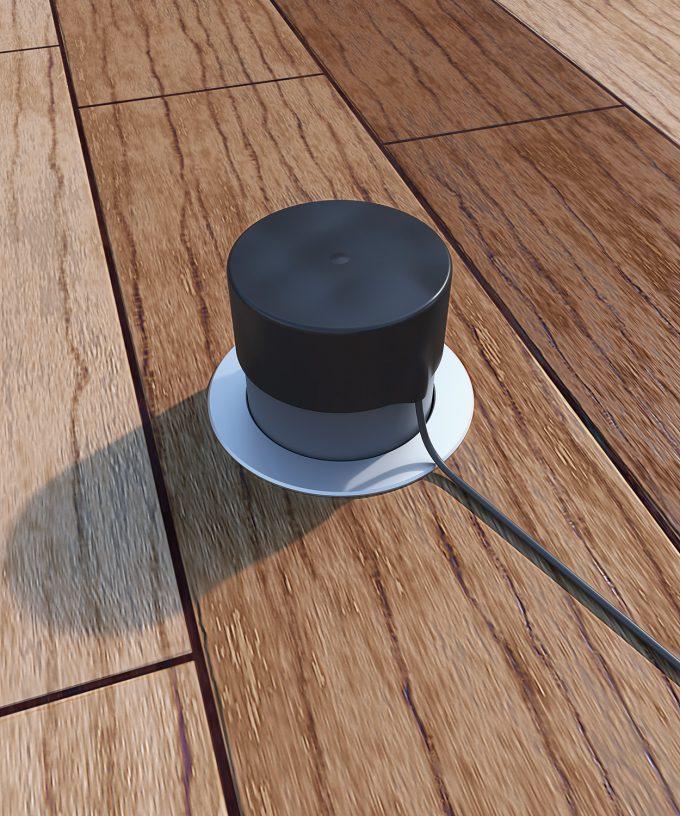 Regenschutz-Set 12256 Tubus und Kappe mit Bodensteckdose 7501A im Holzboden draussen eingebaut
