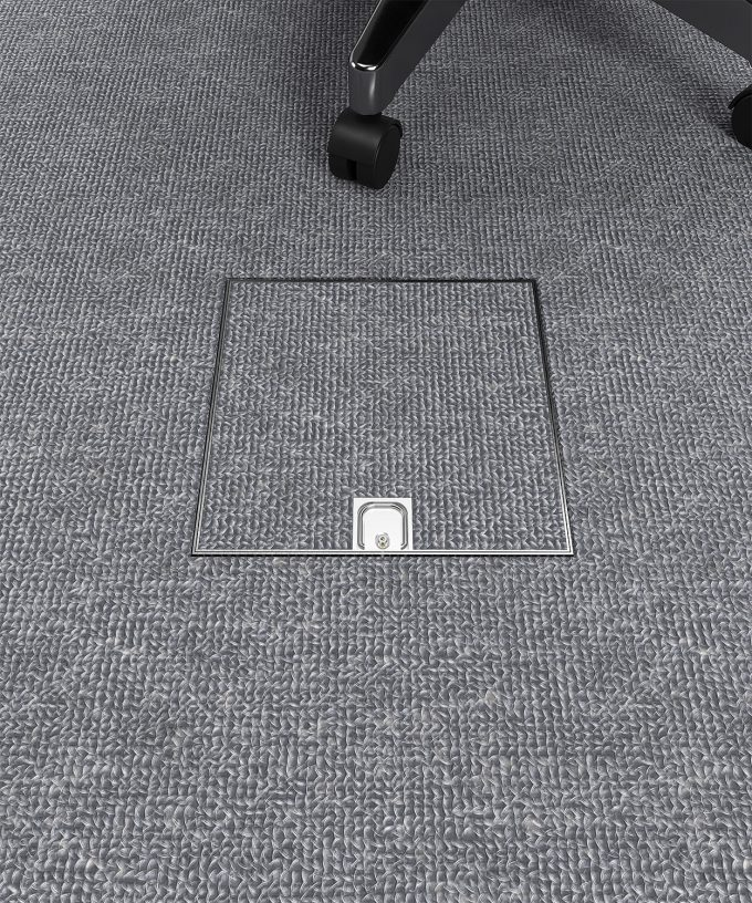 Bodentank 2004B im Teppich-Boden eingebaut Deckel geschlossen im Büro
