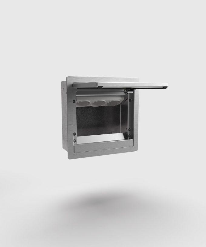 Wandverteiler 5503A verschließbar Deckel-Tür offen mit 3 Schuko