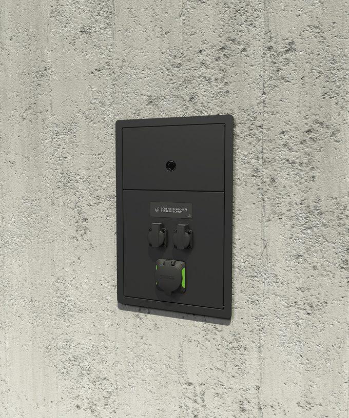 Wandladestation Ladestation 5802A für das E-Auto eingebaut in einer Wand