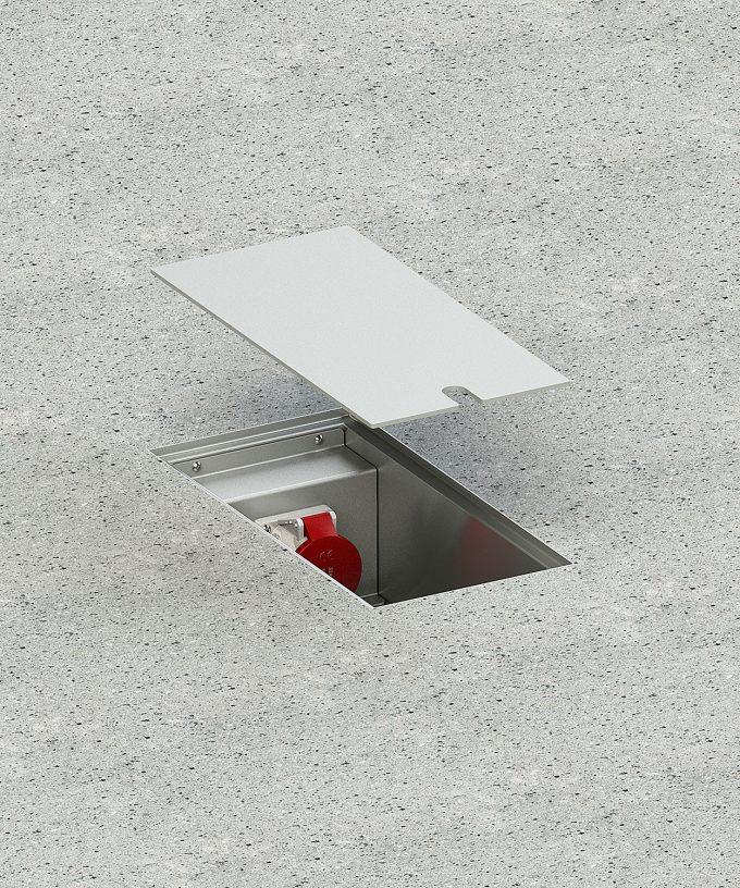 CEE-Bodentank 6400E CEE-Bodensteckdose im Betonboden eingebaut Deckel angehoben