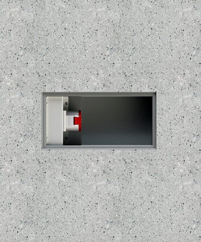 CEE-Bodentank 6400E CEE-Bodensteckdose im Betonboden eingebaut Ansicht von oben ohne Deckel