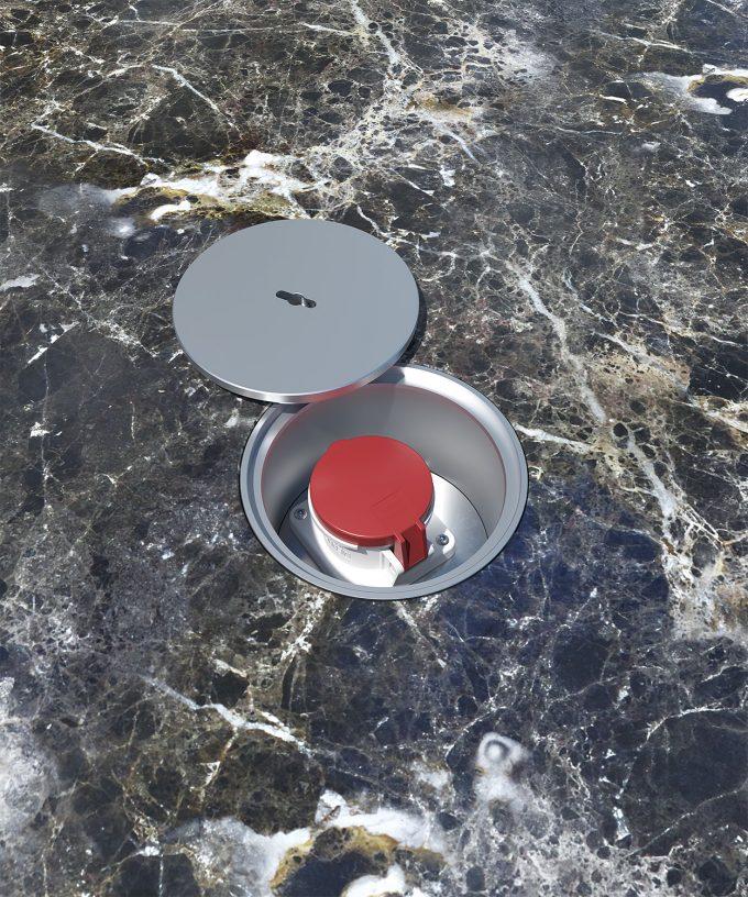 CEE-Bodensteckdose 7012A63 Aussenbereich Deckel abgelegt im Marmor-Boden eingebaut