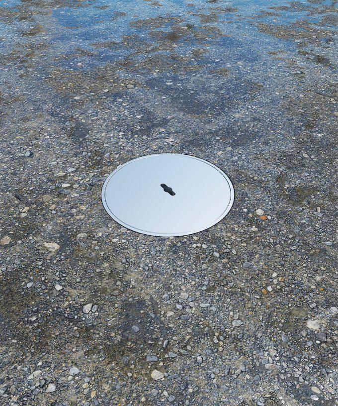 CEE-Bodensteckdose 7012A63 Aussenbereich Deckel geschlossen im nassen Boden