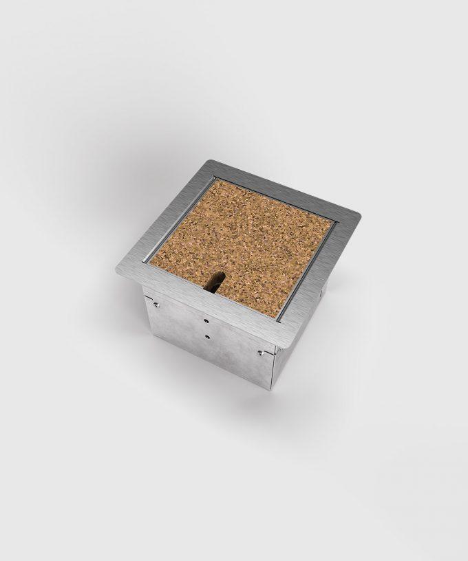 Bodensteckdose 8501B Deckel mit Kabelauslass geschlossen mit Bodenbelag
