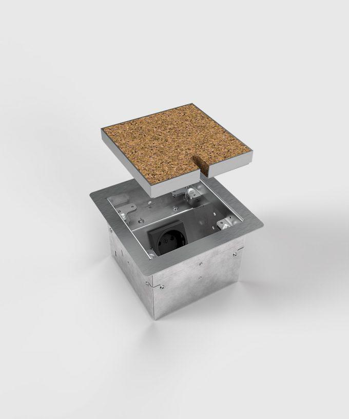 Bodensteckdose 8501B Deckel angehoben mit Bodenbelag