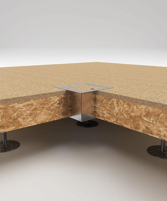 Bodensteckdose 8501B im Hohlboden eingebaut Deckel geschlossen mit Bodenbelag