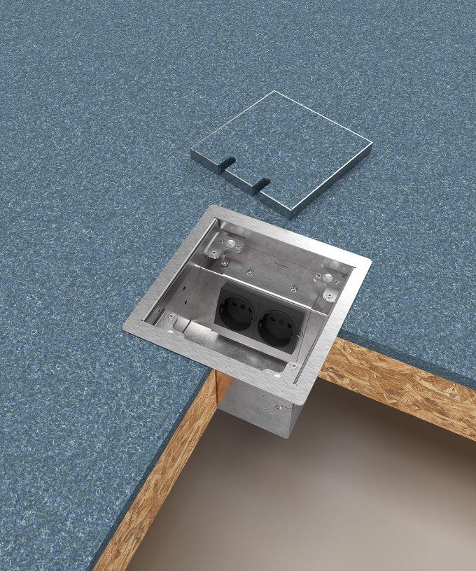 Hohlbodentank 8502B im Hohlboden eingebaut Deckel offen abgelegt mit Bodenbelag Teppich
