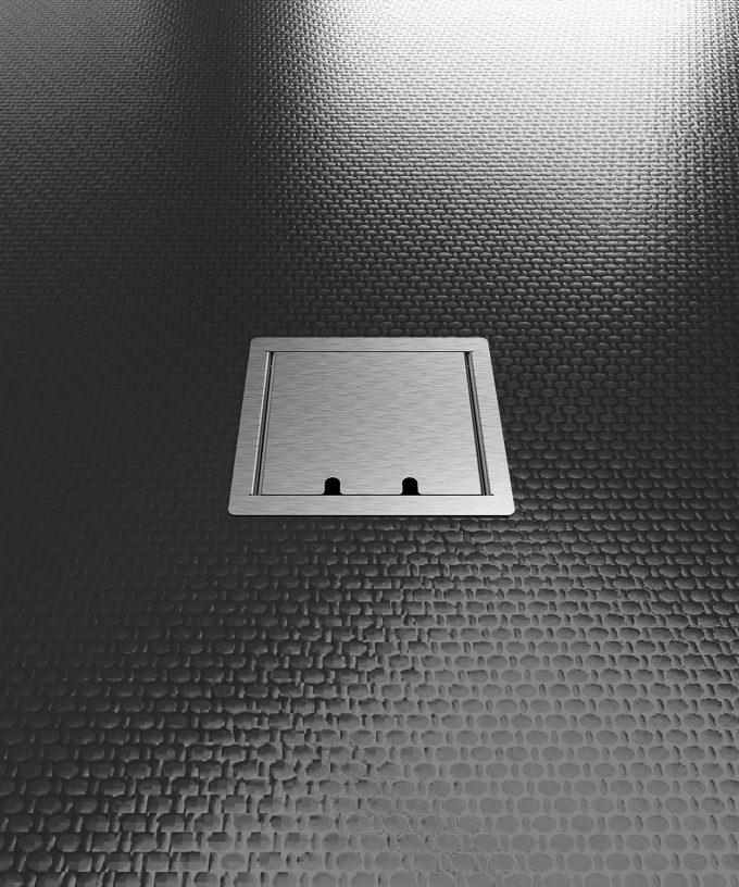 Hohlbodentank 8502E im schwarzen Boden eingebaut Deckel geschlossen
