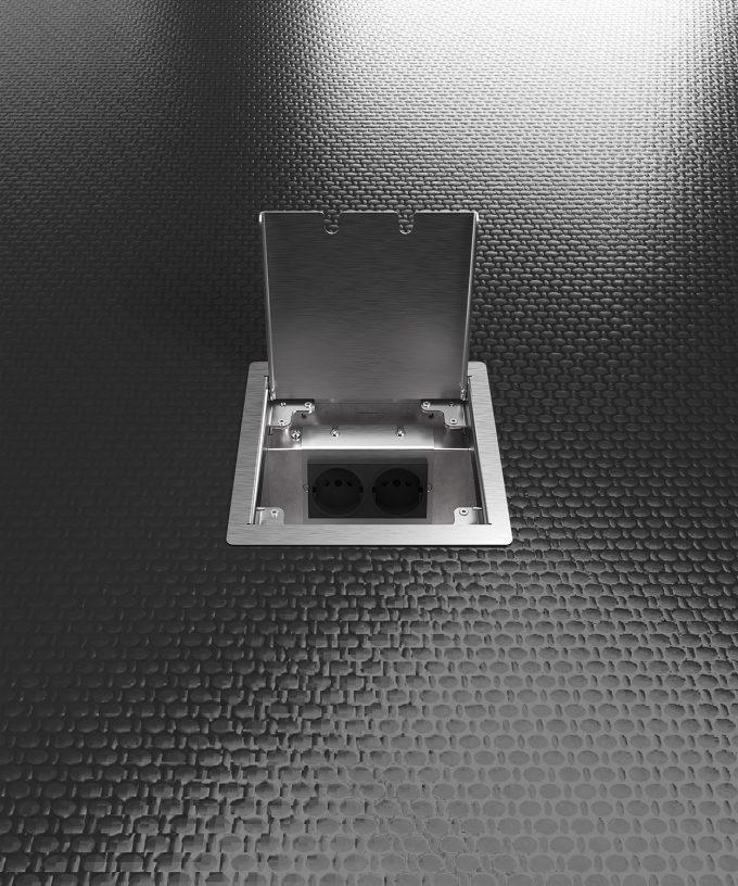 Hohlbodentank 8502E im schwarzen Boden eingebaut Deckel offen