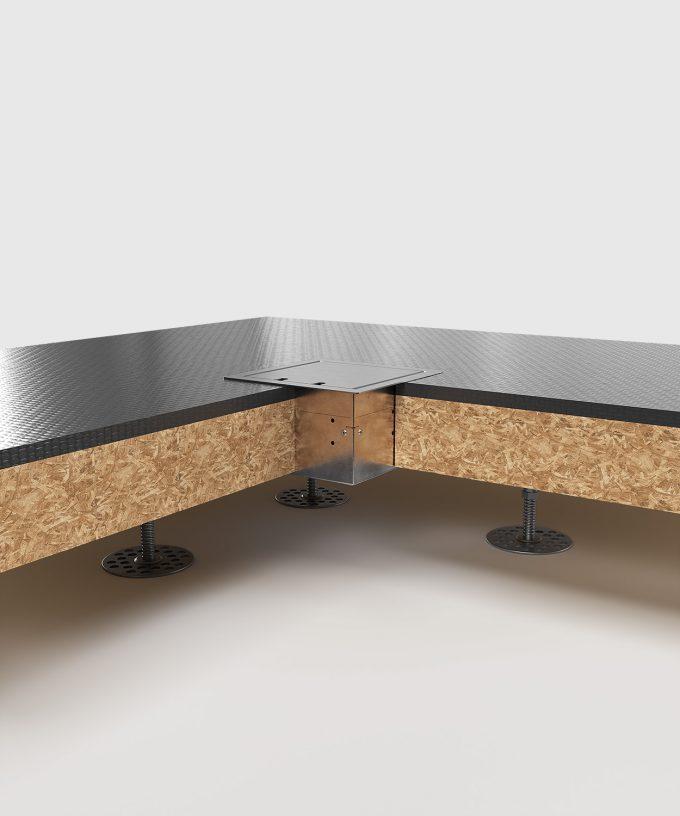 Hohlbodentank 8502E im Hohlboden eingebaut Deckel geschlossen