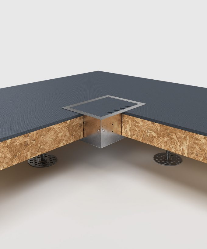 Hohlbodentank 8504B im Hohlboden eingebaut Deckel geschlossen Ansicht im Querschnitt