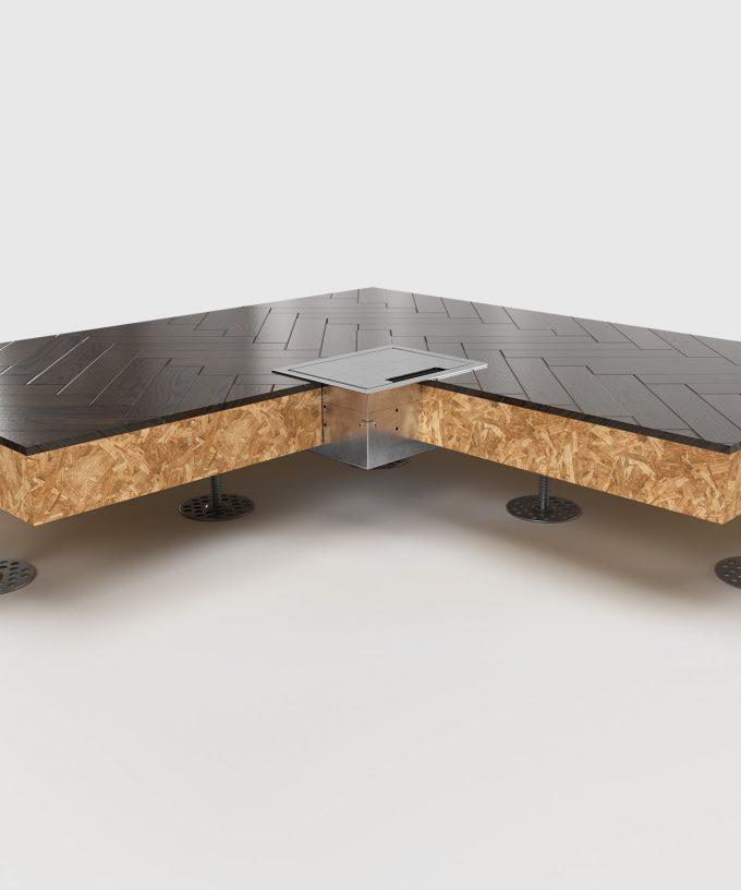 Hohlbodentank 8504E im Hohlboden eingebaut Deckel geschlossen Ansicht im Querschnitt