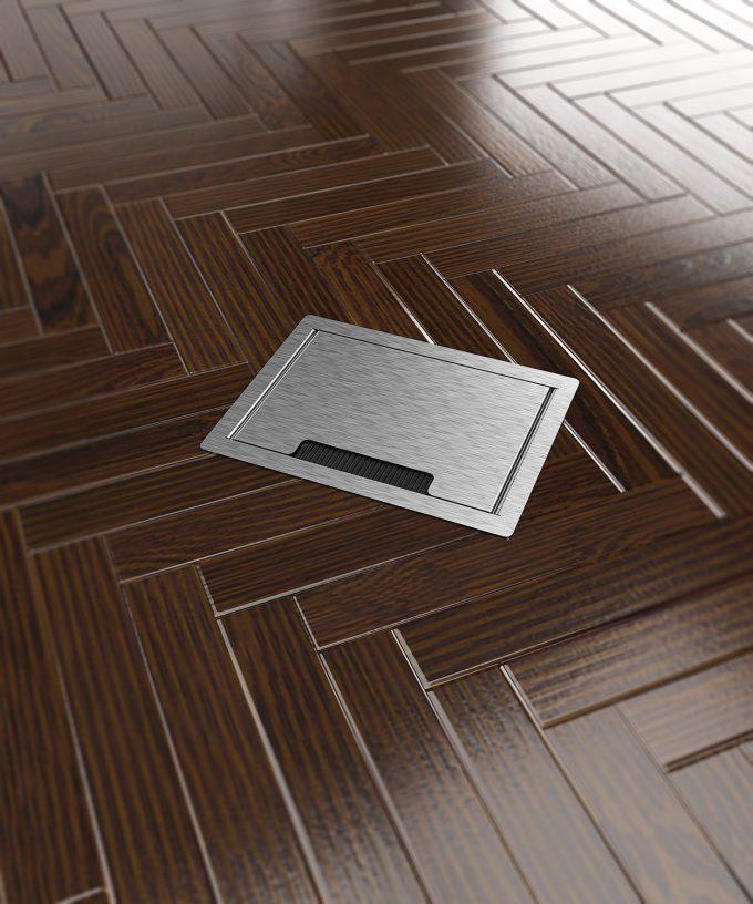Hohlbodentank 8504B Deckel geschlossen im Parkettboden eingebaut