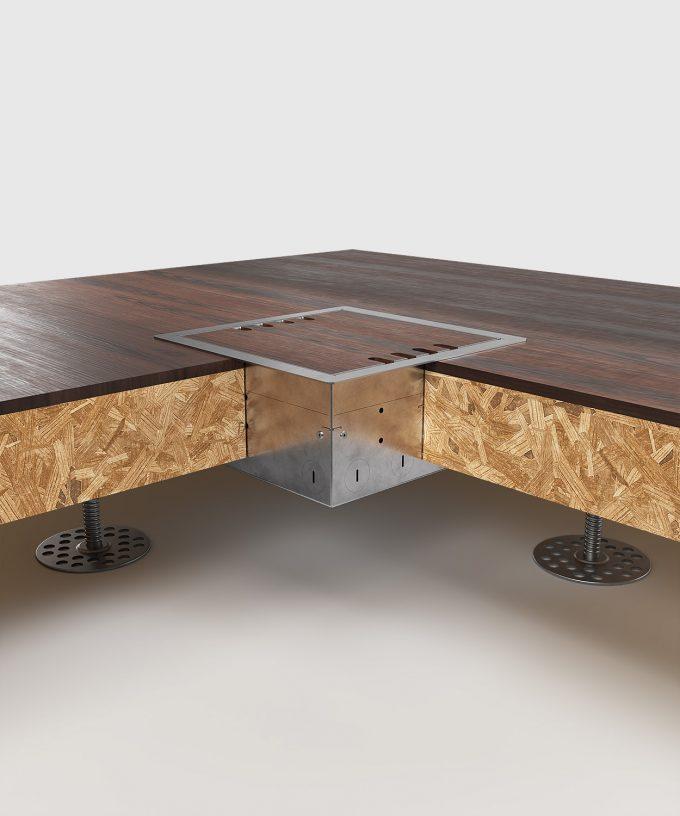Hohlbodentank 8508B im Hohlboden eingebaut Deckel geschlossen Ansicht im Querschnitt