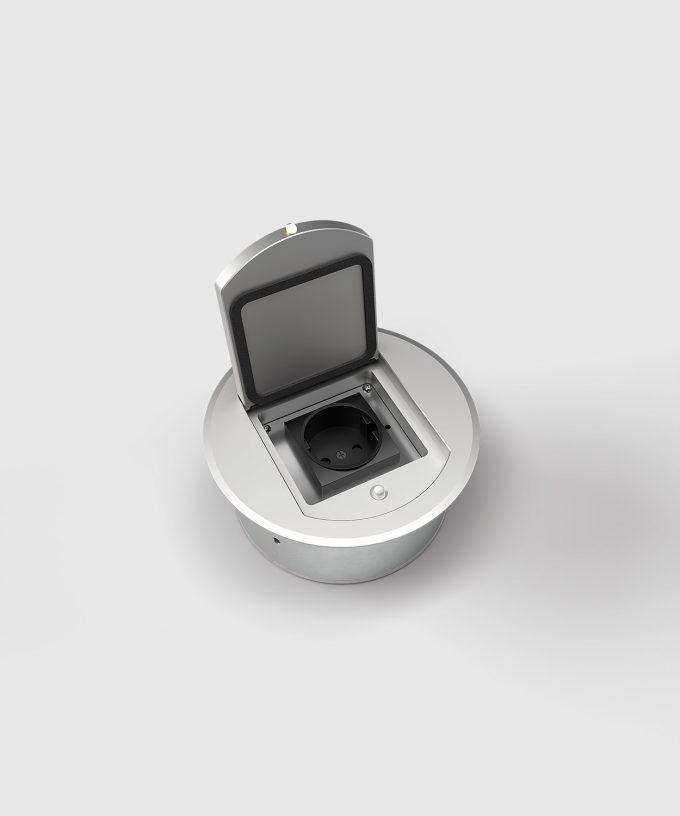 runde Bodensteckdose 8601A Deckel offen mit Deckeldichtung eine Steckdose