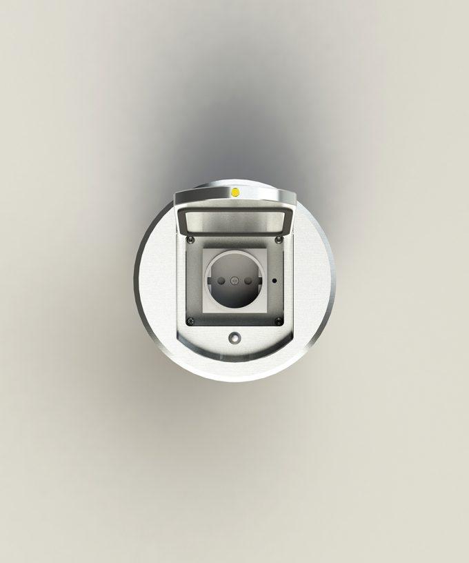 Bodensteckdose 8601A rund Schutzart IP65 ausgebaut Deckel offen Ansicht von oben