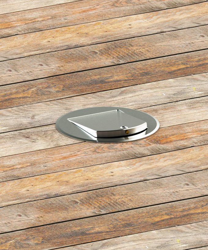 Bodensteckdose 8601A rund Schutzart IP65 im Holzdielenboden eingebaut Deckel offen