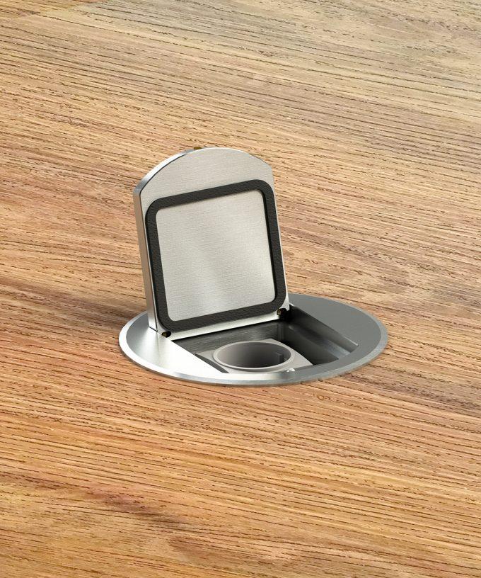 Bodensteckdose 8601A rund Schutzart IP65 im Holzboden eingebaut Deckel offen