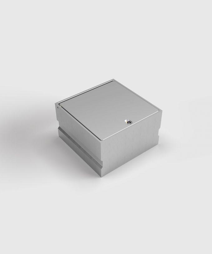 Bodensteckdose 8702A aus Aluminium Deckel geschlossen