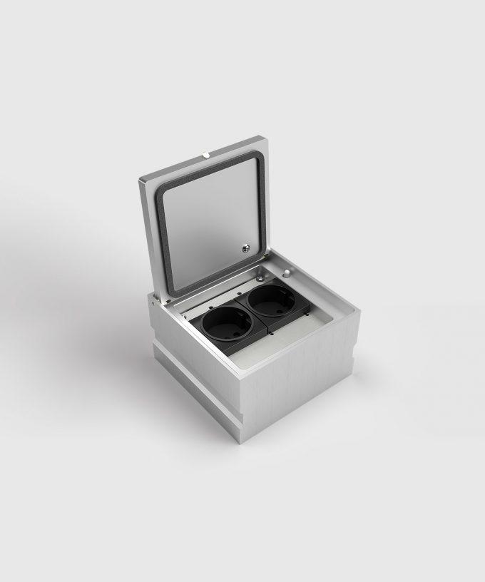 Bodensteckdose 8702A IP65 zwei Schuko-Steckdosen Deckel offen mit Verschluss und Dichtung