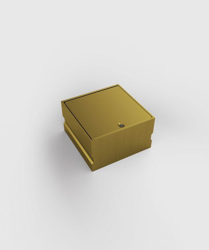 Bodensteckdose 8702A aus Aluminium in Gold eloxiert Deckel geschlossen
