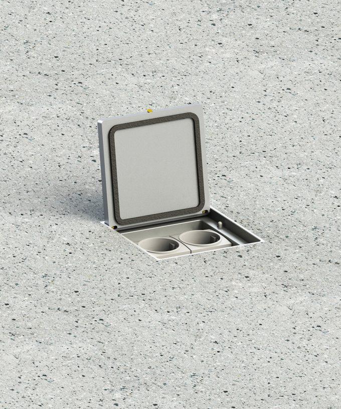 Bodensteckdose 8702A Schutzart IP65 im Boden eingebaut Klappdeckel offen