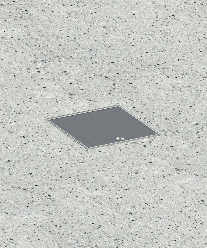 Bodensteckdose 8702A Schutzart IP65 im Boden eingebaut Klappdeckel geschlossen