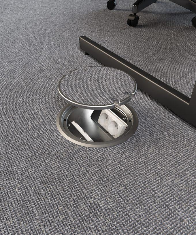 Bodensteckdose 9904A rund mit zwei Schuko-Steckdosen im Teppichboden Büro eingebaut