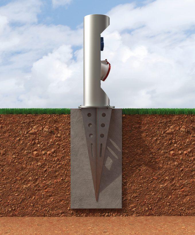 Bodenanker BAES32 Einschlagfuss aus Edelstahl mit Energiepoller im Erdreich mit Fundament eingebaut