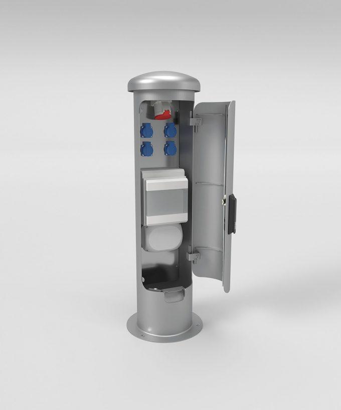 Energiesäule Energiepoller ESP14 aus Edelstahl Tür verschließbar