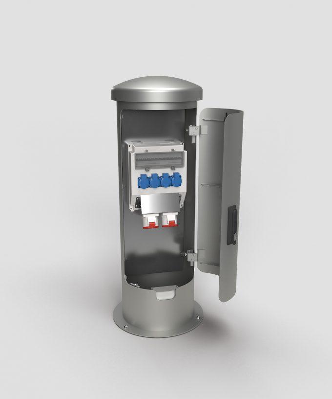 Stromsäule Energiepoller ESP24 aus Edelstahl mit abschließbarer Tür und Kabelauslass