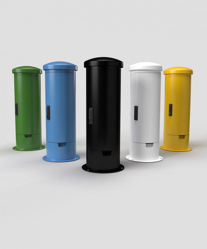 Ladesäule/Ladepoller Ladestation ESP24-EM verschlossen in diversen Farben lackiert