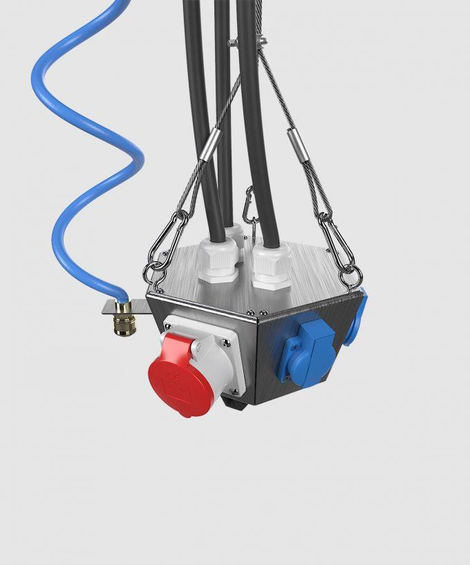 Hängeverteiler HV1006 bestückt mit CEE, Schuko, Netzwerk und Druckluft Ansicht von oben