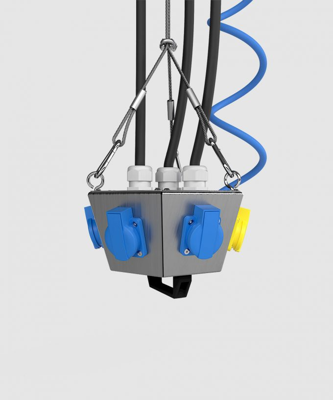Hängeverteiler HV1006 bestückt mit CEE, Schuko, Netzwerk und Druckluft Ansicht seitlich