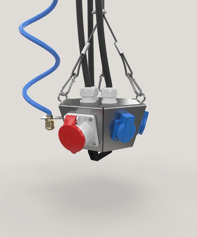 Hängeverteiler HV1006 bestückt mit CEE, Schuko, Netzwerk und Druckluft mit Kabeln und Aufhängung