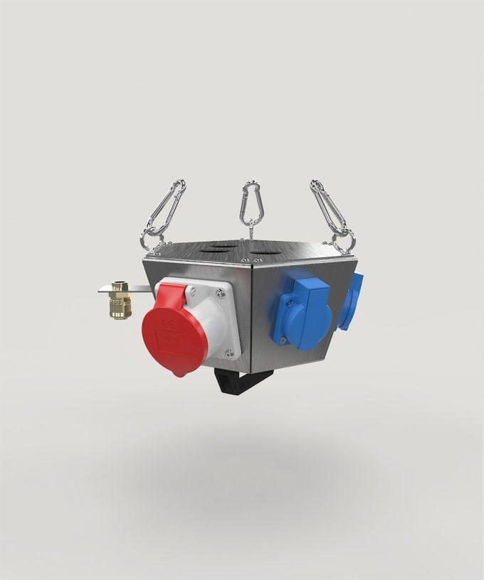 Hängeverteiler HV1006 bestückt mit CEE, Schuko, Netzwerk und Druckluft